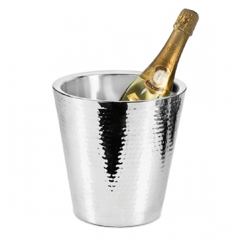 Edzard Champagne-Cooler/Wine-Cooler Valencia, polished and hammered stainless steel, double walled, h 23 x Ø 23 cm