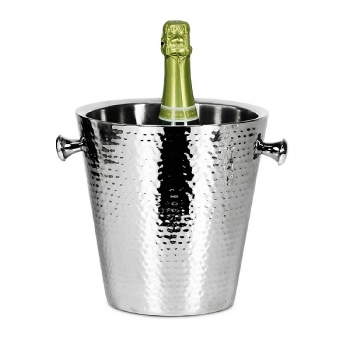 Edzard Champagne-Cooler/Wine-Cooler Valencia with 2 handles, polished and hammered stainless steel, double walled, h 23 x Ø 23 cm