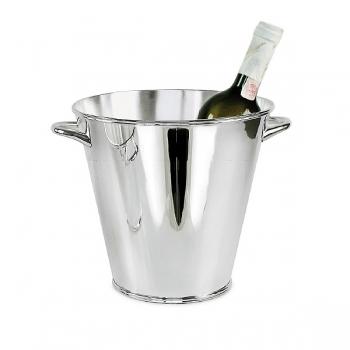 Edzard Champagnerkühler/Weinkühler Calo mit 2 Griffen, glänzend QualiPlated® versilbert, H 21 x Ø 22 cm