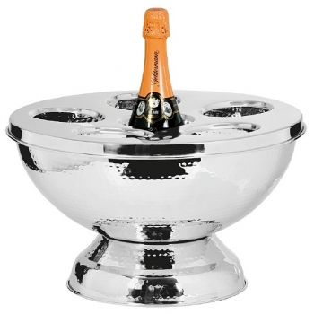Edzard Champagne-Cooler/Wine-Cooler Rockford with cover, polished and hammered stainless steel, h 24 x Ø 39 cm