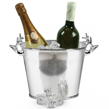 Edzard Champagne-Cooler/Wine-Cooler Elk oval with 2 handles, shiny QualiPlated® with silver, h 21 x w 22 x d 12 cm
