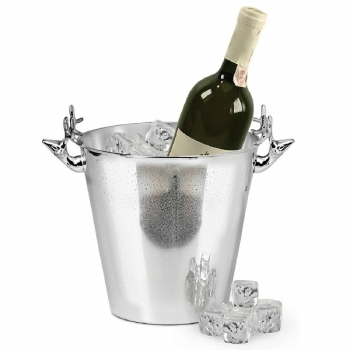 Edzard Champagne-Cooler/Wine-Cooler Elk with 2 handles, shiny QualiPlated® with silver, h 22 x Ø 19 cm