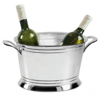 Edzard Champagne-Cooler/Wine-Cooler Malta with 2 handles, shiny QualiPlated® with silver, h 20 x Ø 38 cm
