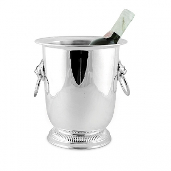 Edzard Champagne-Cooler/Wine-Cooler Lion with 2 ring handles, shiny QualiPlated® with silver, h 24 x Ø 19 cm