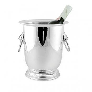 Edzard Champagnerkühler/Weinkühler Lion mit 2 Ringgriffen, glänzend QualiPlated® versilbert, H 24 x Ø 19 cm