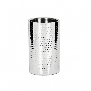 Edzard Wine-Cooler Nebraska, polished and hammered stainless steel, double walled, h 20 x Ø 12 cm