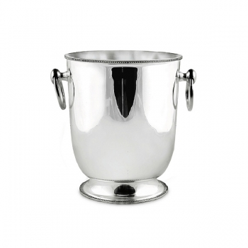 Edzard Champagne-Cooler/Wine-Cooler Perla with 2 ring handles, shiny QualiPlated® with silver, h 22 x Ø 18 cm