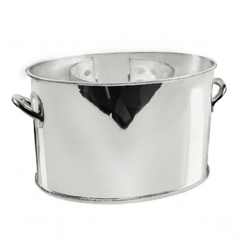 Edzard Champagne-Cooler/Wine-Cooler Ruben with 2 handles, shiny QualiPlated® with silver, H 14 x Ø 24 cm