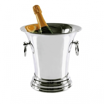 Edzard Champagne-Cooler/Wine-Cooler Tromba with 2 ring handles, shiny QualiPlated® with silver, h 25 x Ø 19 cm