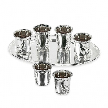Edzard Shot Cups Set of 7 parts, shiny QualiPlated® with silver, 6 shot cups, 1 tray, l 24 cm