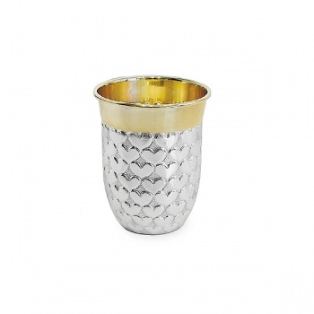 Edzard Drinking Cup Heart, solid silver, gold plated inside, shiny polished, h 5 x Ø 2.5 cm