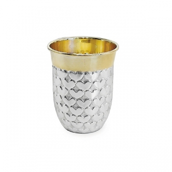 Edzard Drinking Cup Heart, solid silver, gold plated inside, shiny polished, h 7 x Ø 3.5 cm