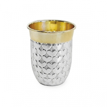 Edzard Drinking Cup Heart, solid silver, gold plated inside, shiny polished, h 8 x Ø 4 cm