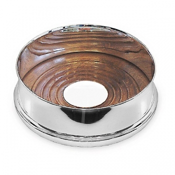 Edzard Bottle Coaster Pero with teakwood-inlay, solid silver, shiny polished, Ø 13 cm