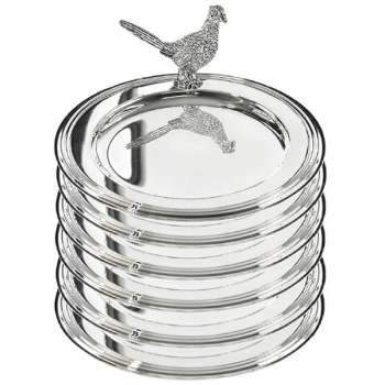 Edzard Bottle Coasters/Glass Coasters Pheasant, set of 6, shiny silver plated, Ø 11 cm