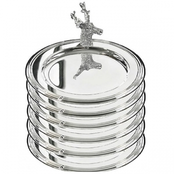 Edzard Bottle Coasters/Glass Coasters Stag, set of 6, shiny silver plated, Ø 11 cm