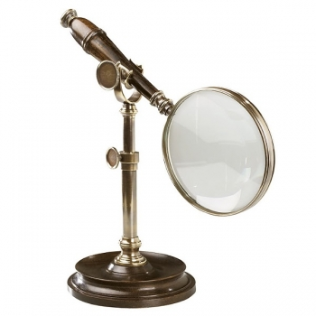 Magnifying Glass with Stand, bronzed brass, wood, magnification x3, Dimensions glass: l 25 x Ø 10 cm, stand: h 18 x Ø 11.5 cm