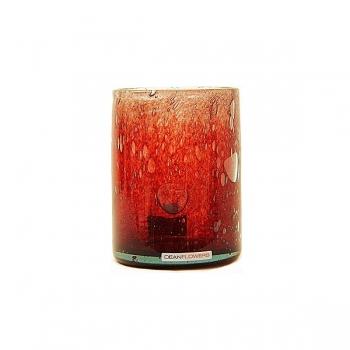 Henry Dean Vase/Windlicht Cylinder, H 13 x Ø 10 cm, Garnet