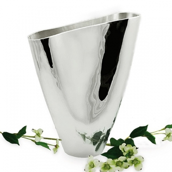 Edzard Vase Larvik, shiny QualiPlated® with silver, h 30 x B 24 cm