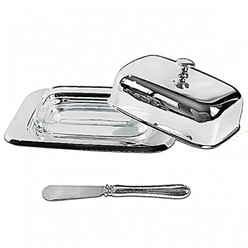 Edzard Butter Dish Mista, w. butter knife and glass inset, shiny silver plated non tarnishing, l 18 x w 12 cm