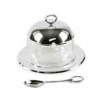 Edzard Marmeladenglas Jago, mit Löffel, glänzend versilbert, anlaufgeschützt,  H 10 x Ø 14 cm
