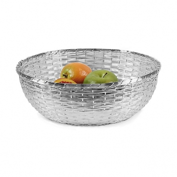 Edzard Basket Basso, shiny silver plated non tarnishing, h 12 x Ø 30 cm