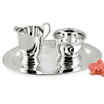 Edzard Milk-, Sugar-Set Jersey 3 parts, shiny QualiPlated® with silver, capacity 2 x 0.12 l, Tray l 24 x w 14 cm