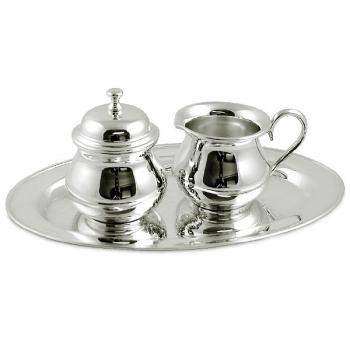 Edzard Milk-, Sugar-Set Lomita 3 parts, shiny QualiPlated® with silver, capacity 2 x 0.15 l, Tray l 24 x w 14 cm