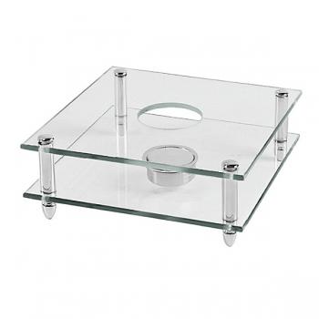 Edzard Tea Pot Warmer Carmen, crystal glass with silver plated columns, h 7 x w 18 x d 18 cm