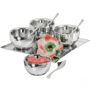 Edzard Ice Cream-/Dessert-Set with Tray, 9 parts, polished and hammered stainless steel, double walled, tray l 20 x w 20 cm
