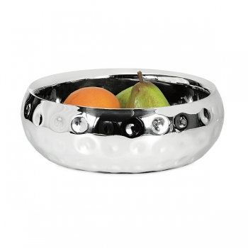 Edzard Bowl Carolina, polished and hammered stainless steel, double walled, h 12 x Ø 24 cm