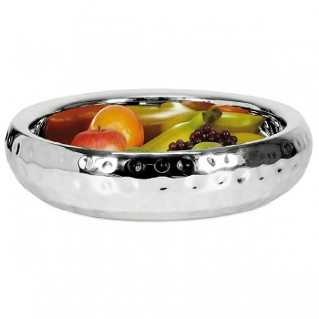 Edzard Bowl Carolina, polished and hammered stainless steel, double walled, h 11 x Ø 36 cm