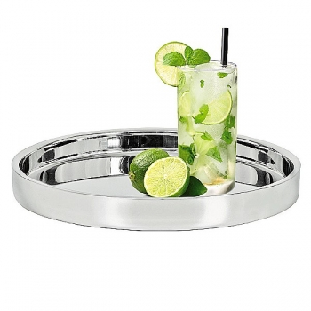 Edzard Tray Alaska, polished stainless steel, double walled, h 4.5 x Ø 32 cm