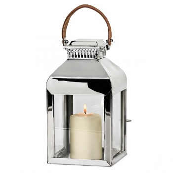 Edzard Lantern/Windlight Livingston, polished stainless steel/glass/leather, h 38 x w 22 x d 22 cm