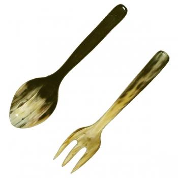 Genuine horn salad servers Trident, hand polished, l 18 cm