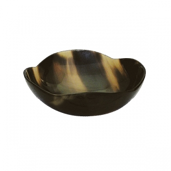 Genuine horn bowl round with wave rim, hand polished, h 6 x Ø 9 cm