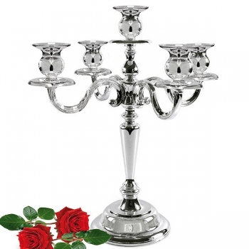 Edzard Candelabrum/Candle Holder Regina, 5-branched, shiny silver plated non tarnishing, h 36 cm