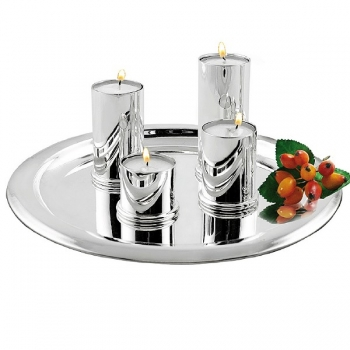Edzard Tealight-set of 4 Aurora with tray Ø 22 cm, shiny silver plated non tarnishing, h 4/6/8/10 cm