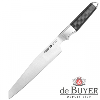 de Buyer Utility Knife, Design FK1, stainless steel X50CrMoV15/Carbon, l blade/total 18/30 cm