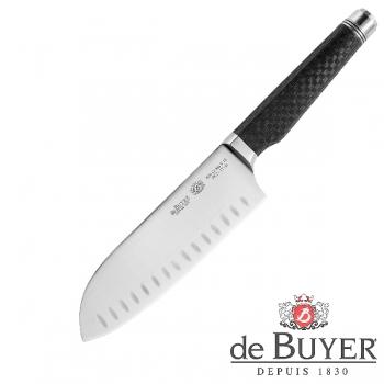 de Buyer Santoku Knife, Design FK2,stainless steel X50CrMoV15/Carbon, l blade/total 17/32 cm