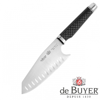 de Buyer Japanese Chef Knife, Design FK2, stainless steel X50CrMoV15/Carbon, l blade/total 15/28 cm