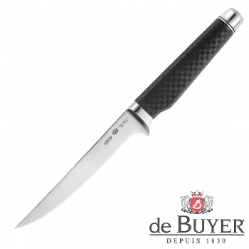 de Buyer Filleting Knife, Design FK2, stainless steel X50CrMoV15/Carbon, l blade/total 16/30 cm