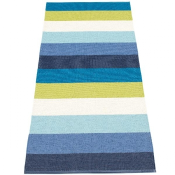 Pappelina Carpet Molly, blue, softvinyl-bandweave, l 200 x w 70 cm