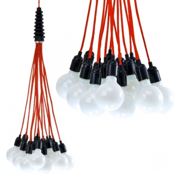 Design Hanging Lamp/Ceiling Lamp Bundle, with red cables, without bulbs, 15 x E 27