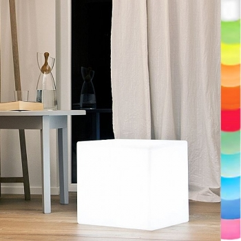 8-Seasons-Design-Light-Object, Cube, white, l 33 x w 33 x h 33 cm, Indoor/Outdoor, LED-color change/remote ctrl, CE IP44, power plug, 5 m cable