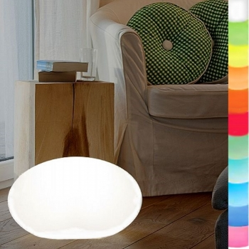 8-Seasons-Design-Leuchtobjekt, Oval, Weiß, L 46 x B 24 x H 42 cm, Indoor/Outdoor, LED-Farbw./Fernbed., CE IP44, Netzstecker, 5 m Kabel