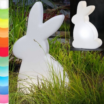 8-Seasons-Design-Light-Object, Rabbit, white, h 70 x w 40 x d 16 cm, Indoor/Outdoor, LED-color change/remote ctrl, CE IP44, power plug, 5 m cable