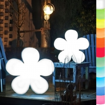 8-Seasons-Design-Light-Object, Flower, white, Ø 40 x d 10 cm, Indoor/Outdoor, LED-color change/remote ctrl, CE IP44, power plug, 5 m cable