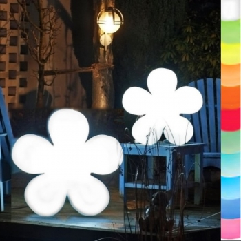 8-Seasons-Design-Light-Object, Flower, white, Ø 60 x d 14 cm, Indoor/Outdoor, LED-color change/remote ctrl, CE IP44, power plug, 5 m cable