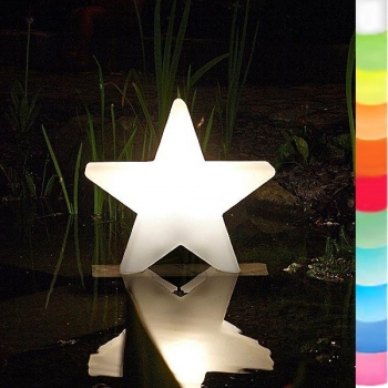 8-Seasons-Design-Leuchtobjekt, Stern, Weiß, Ø 40 x T 10 cm, Indoor/Outdoor, LED-Farbw./Fernbed., CE IP44, Netzstecker, 5 m Kabel